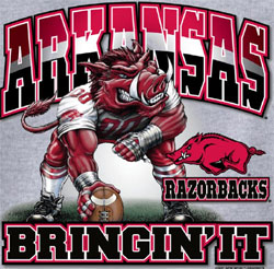 Arkansas Razorbacks Football T-Shirts Bringin It Three Point Stance