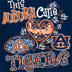 Auburn Tigers Football T-Shirts - Auburn Cutie Loves Her Tigers