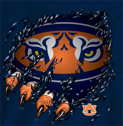 Auburn Tigers Football T-Shirts - Ripped - Tiger Claws