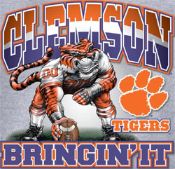 Clemson Tigers Football T-Shirts - Bringin It - Three Point Stance
