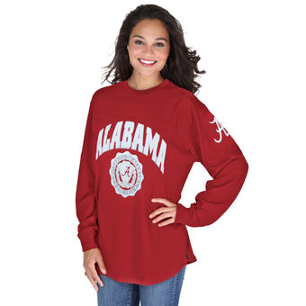 Cute Alabama Shirts - Alabama Crimson Tide Pressbox Women's Edith Long Sleeve Oversized Top - Crimson