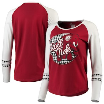 Cute Alabama Shirts - Alabama Crimson Tide Women's Roll Tide Elephant Raglan 3/4-Sleeve T-Shirt - Crimson/Houndstooth
