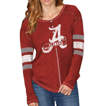 Cute Alabama Shirts - Alabama Crimson Tide Original Retro Brand Women's Sleeve Striped Henley Long Sleeve T-Shirt
