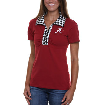 Cute Alabama Shirts - Alabama Crimson Tide Womens Jessie Polo - Crimson/Houndstooth