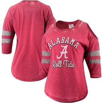Cute Alabama Shirts - Alabama Crimson Tide Pressbox Womens Vintage Wash Cold Shoulder Raglan 3/4-Sleeve T-Shirt - Crimson