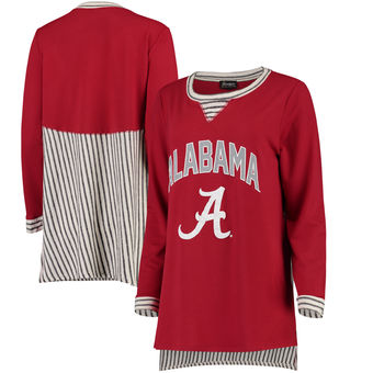Cute Alabama Shirts - Alabama Crimson Tide Women's Striped Panel Oversized Long Sleeve Tri-Blend Tunic Shirt - Crimson