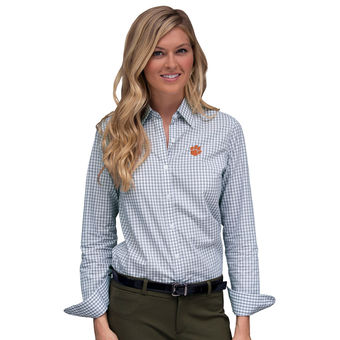 Cute Clemson Shirts - Tigers Button Up Long Sleeve Gingham Color White/Gray