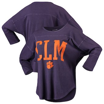 Cute Clemson Shirts - Tigers Striped Jersey Codes CLM Vintage 3/4 Sleeve Color Purple