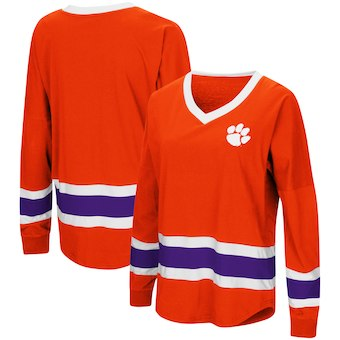 Cute Clemson Shirts - Tigers V-Neck Long Sleeve Marquee Oversized Color Orange