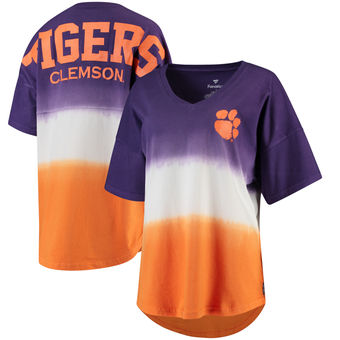 Cute Clemson Shirts - Tigers Spirit Jersey V-Neck Ombre Color Purple/Orange