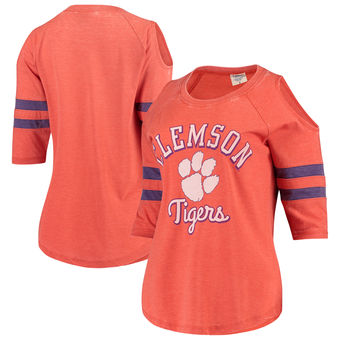 Cute Clemson Shirts - Tigers 3/4 Sleeve Raglan Vintage Wash Cold Shoulder Color Orange