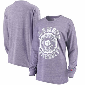 Cute Clemson Shirts - Tigers Long Sleeve Tri-Blend Oversized Color Purple