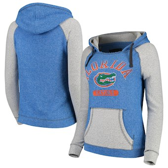 Cute Florida Gator Shirts - Horizon Comfy Knit Terry Hoodie Color Heathered Royal/Gray