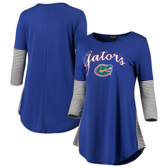Cute Florida Gator Shirts - Tri-Blend Striking In Stripes Tunic Shirt Color Royal