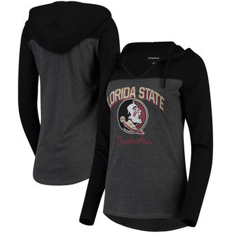 Cute FSU Shirts - Knockout Colorblock Hooded Long Sleeve T-Shirt - Charcoal