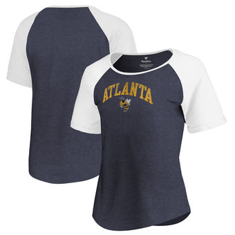 Cute Georgia Tech Shirts - GA Tech Arched City Atlanta Raglan Tri-Blend Color Navy
