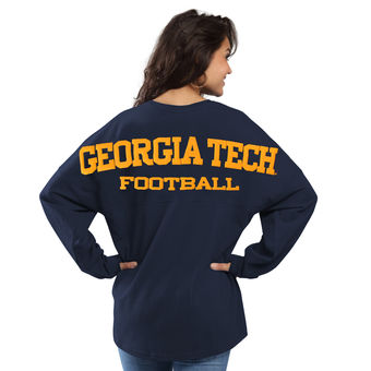 Cute Georgia Tech Shirts - GA Tech Oversized Long Sleeve Football Sweeper Color Navy