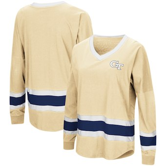 Cute Georgia Tech Shirts - GA Tech V-Neck Long Sleeve Marquee Oversized Top Color Vegas Gold