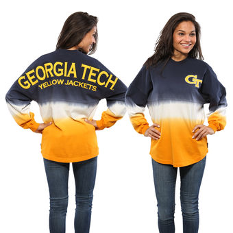 Cute Georgia Tech Shirts - GA Tech Spirit Jersey Ombre Dip-Dyed Long Sleeve Color Navy