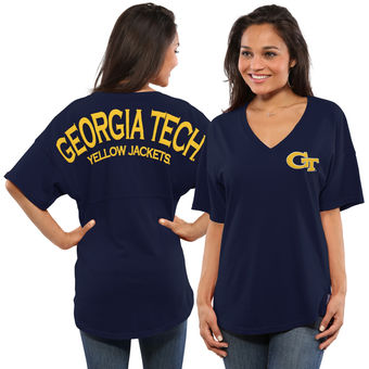 Cute Georgia Tech Shirts - GA Tech Oversized Spirit Jersey Color Navy