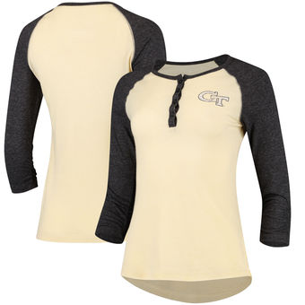 Cute Georgia Tech Shirts - GA Tech 3/4 Sleeve Womens Slopsestyle Henley Color Heathered Gold