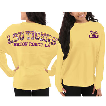 Cute LSU Shirts - Aztec Sweeper Long Sleeve Oversized Top By Pressbox Color Yellow