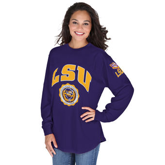 Cute LSU Shirts - Edith Long Sleeve Oversized Top By Pressbox LSU Tigers Color Purple