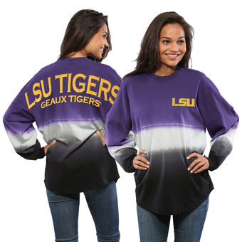 Cute LSU Shirts - Dip-Dyed Spirit Jersey LSU Tigers Ombre Long Sleeve Color Purple