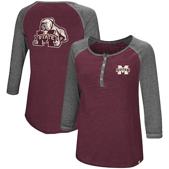 Cute Mississippi State Shirts - Bulldogs Henley 3/4 Sleeve Shirt Color Maroon