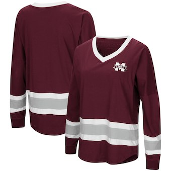 Cute Mississippi State Shirts - Bulldogs V-Neck Top Marquee Oversized Long Sleeve Color Maroon