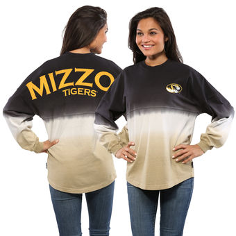 Cute Mizzou Shirts - Tigers Long Sleeve Spirit Jersey Dip-Dyed Color Black