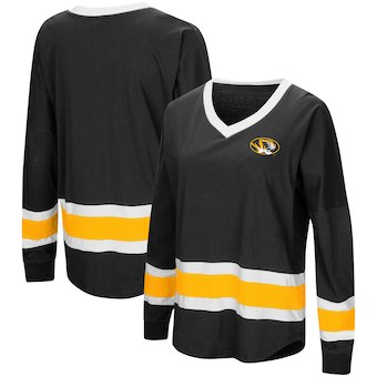 Cute Mizzou Shirts - Tigers V-Neck Long Sleeve Marquee Oversized Top Color Black