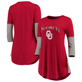 Cute Oklahoma Shirts - Sooners Tri-Blend Stripes Tunic Color Crimson