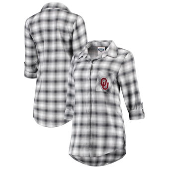 Cute Oklahoma Shirts - Sooners Button Up Long Sleeve Rayon Flannel Color Charcoal/Gray