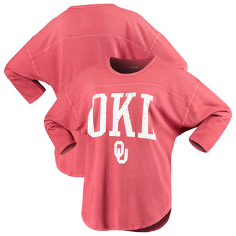 Cute Oklahoma Shirts - Sooners 3/4 Sleeve OKL Codes Striped Jersey Color Crimson
