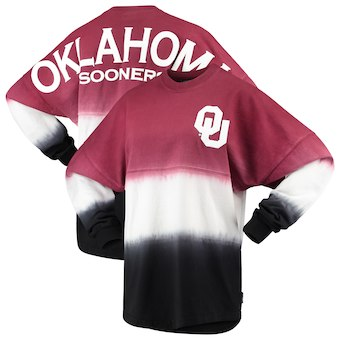 Cute Oklahoma Shirts - Spirit Jersey Dip-Dyed Ombre Long Sleeve Color Cardinal