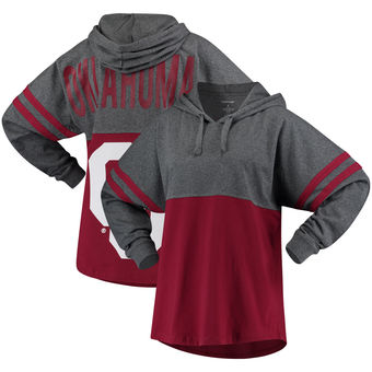 Cute Oklahoma Shirts - Sooners Hooded T-Shirt Pom Pom Long Sleeve Oversized Fit Jersey