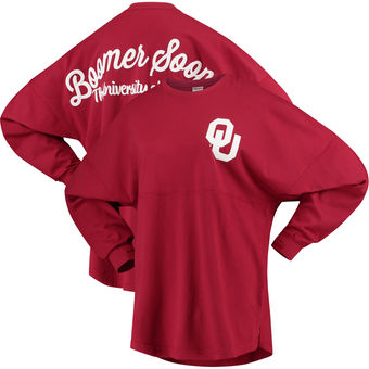 Cute Oklahoma Shirts - Sooners Long Sleeve Sweeper Rally Cry Color Crimson