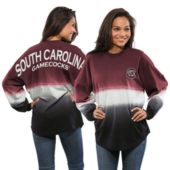 Cute South Carolina Shirts - Spirit Jersey Dip-Dyed Ombre Long Sleeve Color Garnet