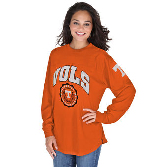 Cute Tennessee Shirts - Tennessee Volunteers Pressbox Women's Edith Long Sleeve Oversized Top