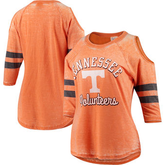 Cute Tennessee Shirts - Tennessee Volunteers Pressbox Vintage Wash Cold Shoulder Raglan 3/4-Sleeve T-Shirt