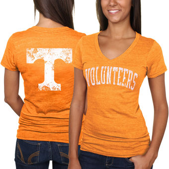 Cute Tennessee Shirts - Tennessee Volunteers Slab Serif Tri-Blend V-Neck T-Shirt