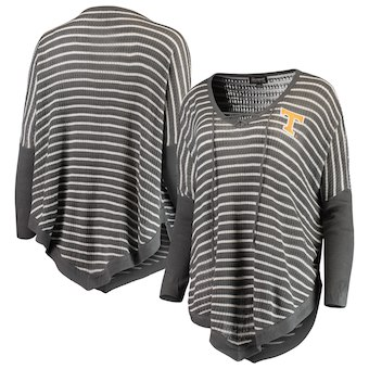 Cute Tennessee Shirts - Tennessee Volunteers Crossroads Striped Poncho Charcoal