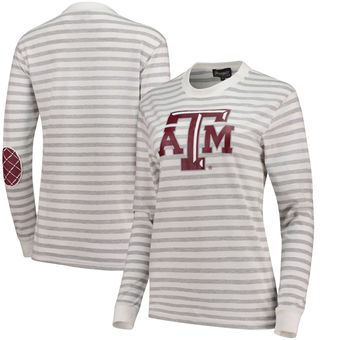 Cute Texas A&M Shirts - Aggies Elbow Patch Striped Long Sleeve T-Shirt
