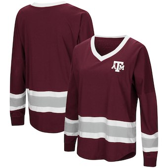 Cute Texas A&M Shirts - Aggies Marquee Players Oversized Long Sleeve V-Neck Top
