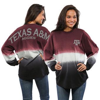 Cute Texas A&M Shirts - Aggies Ombre Long Sleeve Dip-Dyed Spirit Jersey