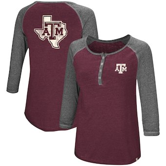 Cute Texas A&M Shirts - Aggies Colosseum 3/4 Sleeve Henley T-Shirt Color Maroon