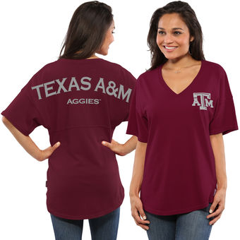 Cute Texas A&M Shirts - Aggies Spirit Jersey Oversized T-Shirt Color Maroon