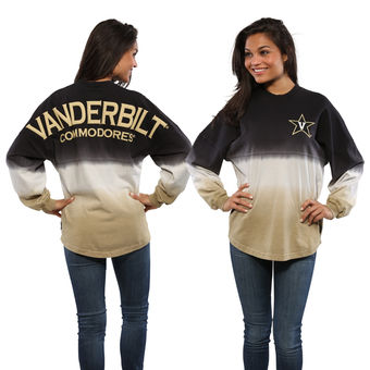 Cute Vanderbilt Shirts - Vandy Spirit Jersey Dip-Dyed Ombre Long Sleeve Color Black