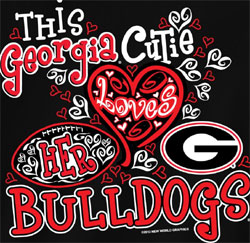 Georgia Bulldogs Football T-Shirts - Cutie Loves Her Bulldogs